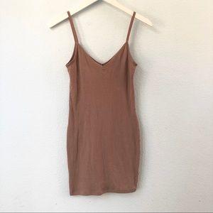 Pacsun beige ribbed v neck bodycon mini dress